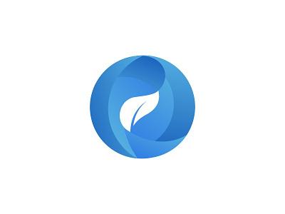 AOI LAUNDRY blue leaf circle branding brand symbol icon design logo