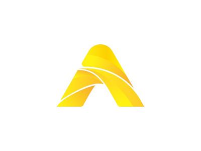Ambo belitung tour yellow gradation letter a logo letter a a logo branding vector brand symbol icon design logo