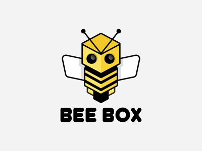 BEEBOX simple honey yellow business .technology hexagon box bee mascot brand animal symbol icon design logo