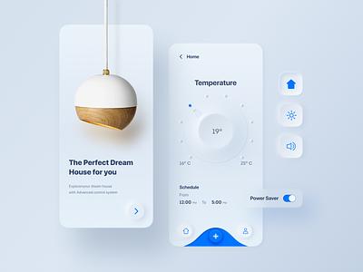 Smart Home Mobile App home decor interface clean figma mobile app design minimal smarthome ux  ui neumorphism skeuomorphism app android app design ios app design