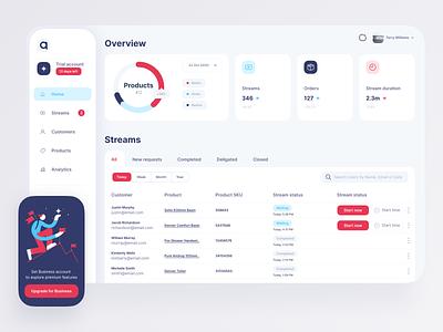 E-commerce Stream Dashboard infographic statistics marketplace desktop app app design ecommerce app streaming app stream dashboard app dashboad streaming ecommerce