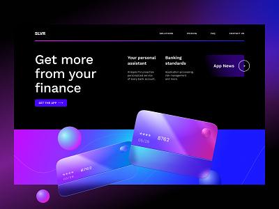 Landing page for a Fintech Service currency blockchain 3d web design credit card bank fintech landing illustration interface ux ui