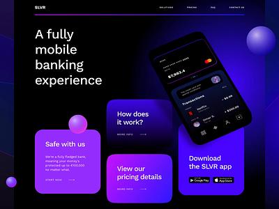 Fintech Banking Service template bold modern mobile interaction animation finance tech fintech banking landing page webdesign interface app ux ui