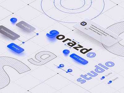 Gorazdo Studio Website Page typography web interface vector branding landing illustration ui
