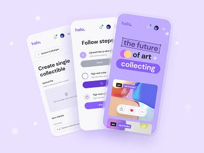 Halo | Crypto NFT Marketplace mobile illustration interface ux app ui ethereum marketplace crypto nft
