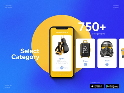 Corporate gifts — catalog typography minimal web branding ux ui product design landing e-commerce design animation