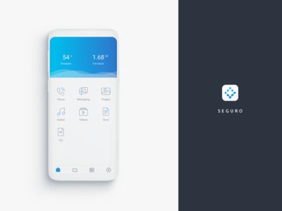 Home screen UI for encryption app