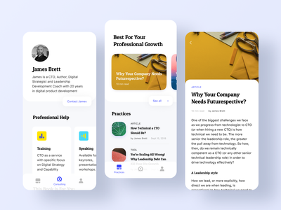 Evolving Digital Leadership Mobile App ux design colorful app clean ui mobile