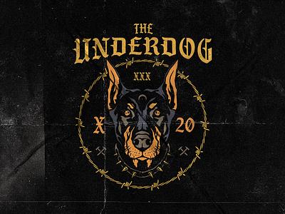 The Underdog xxx barbed wire dog hardcore vector graphic lettering merch apparel logo graphicdesign illustration design
