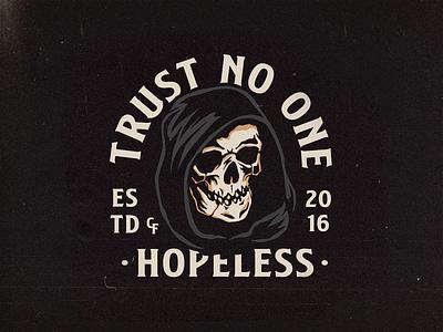 Trust No One reaper skull graphic merch apparel logo brand branding clothing graphicdesign illustration design