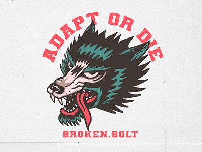 Wolf Broken.Bolt graphic merch logo brand clothing graphicdesign illustration oldschool traditional tattoo tattoo wolf design