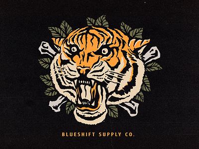 Tiger Blueshift Supply Co. supply apparel vector clothing logo graphic merch tattoo oldschool tiger graphicdesign illustration design