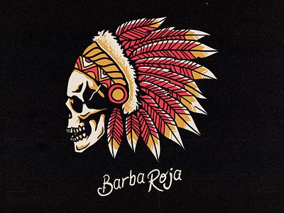 Barba Roja oldschool tattoo skull vector lettering graphic merch apparel logo brand clothing graphicdesign illustration design