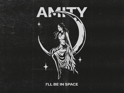 I'll be In Space - The Amity Affliction space girl clothing vector brand logo graphicdesign design illustration