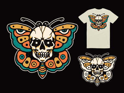 Death butterfly icon branding skull tattoo vintage traditional tattoo vector badge graphic typography merch graphicdesign apparel clothing brand logo butterfly logo butterfly illustration design