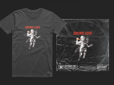 Drunk love vector graphic typography merch lettering logo apparel clothing brand graphicdesign illustration hiphop trap tshirt coverart photomanipulation angel love drunk design