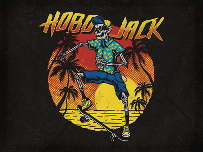 HOBO JACK SKATEBOARD summer skate skateboard hobo jack vector typography merch apparel logo brand clothing graphicdesign illustration design