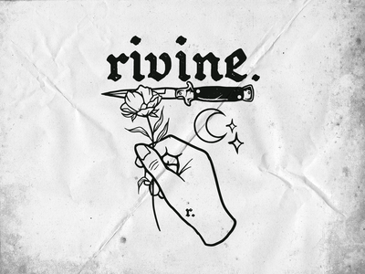 Rivine traditional art oldschool tattoo hand knife rose hardcore rivine vector graphic merch apparel logo brand clothing graphicdesign illustration design