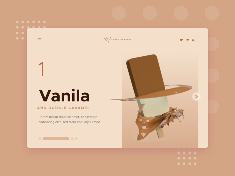 Machocream - Ice cream store mockup minimalistic design minimalist minimalistic adobe dimension adobe xd 3d product render product render design clean design brownpallete brown uidesign webdesigner ice cream store icecream
