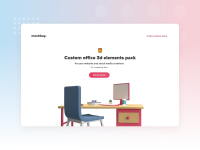 meshbay - FREE 3d web elements library 3dlibrary uiux ui minimalistic minimalism webdesign officeelements freebies freebie 3d art 3delements clean design