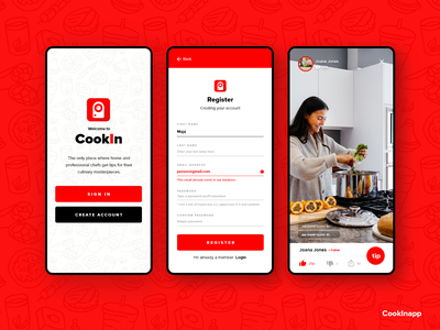 Cookin App - Place where chiefs get tipped! stream app streaming app cooking app mobile design mobile ui flat design mobile app design mobile app clean app design clean design