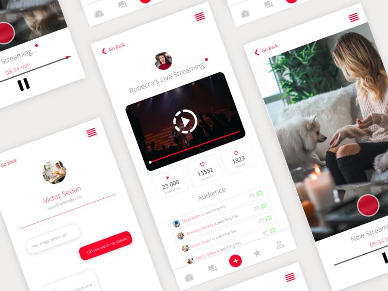 Video Live Stream App live streaming live stream video app platform app idea mobile app design mobile app experience clean design flat design mobile app clean app design