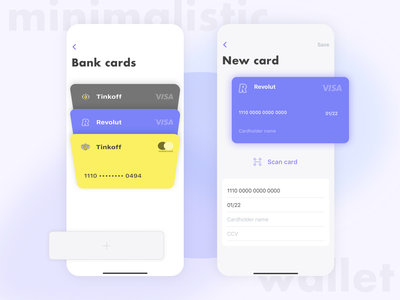 Minimalistic wallet app concept minimalism minimalistic minimal walletapp wallet ui wallet banking bank ios apple design app 2020 trend 2020 uxui ux ui