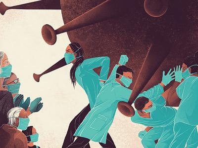 Fight on Brave Doctors keepfighting heroes procreate illustration healthcare nurses doctors nhs coronavirus covid-19