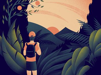 Backpacker's Sunrise illustrator colour tropical leaves tropical procreate sunrise backpacker jungle plants travel illustration