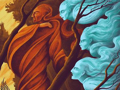 Summoning Spirits texture character design drapery spirits colour illustrator illustration