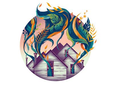 Creativity Knows No Walls vibrant floral expressive leaves plants house procreate colour illustrator illustration