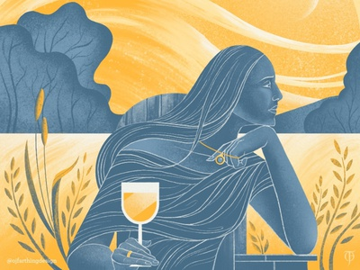 The Thinker by the Fallow Fields. flow stylish wine wheat monochrome limited colour palette woman countryside field nature colour procreate illustrator illustration