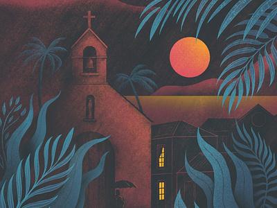 Under a Blood Moon (detail) atmospheric atmosphere rainy exotic tropical moon plants night landscape travel texture colour illustrator illustration