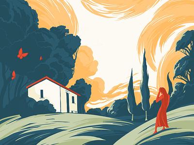 Rural Idyll summer paradise sky countryside nature landscape procreate vector colour illustrator illustration