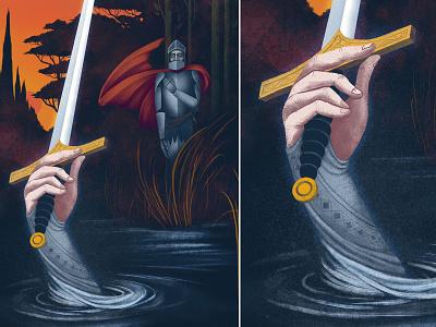 Bedivere returns Excalibur colour theladyofthelake legend excalibur arthurian kingarthur texture illustrator illustration