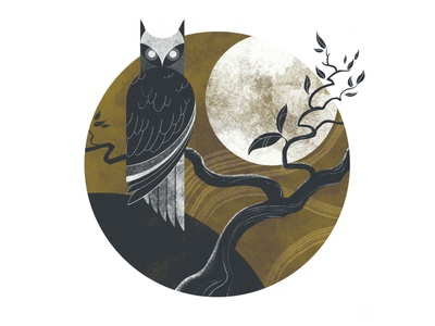 Nocturnal tree owl illustration design moon owl night nocturnal illustrator illustration