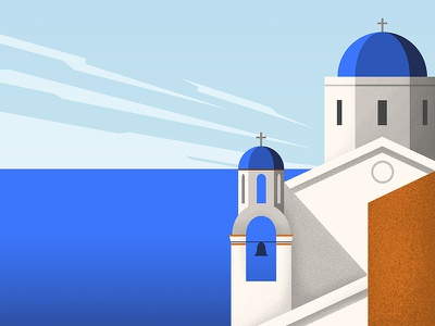 Greek scene scene landscape vector sea greek greece travel illustration