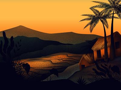 Sunset in the Philippines forest illustration art artwork scene mountains village rural texture asia philippines sunset landscape travel illustrator photoshop vector illustration