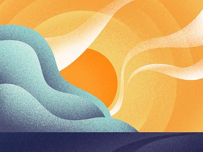 Balearic (1 hour challenge) seascape hour challenge texture colourful sun summer sea colour artwork landscape photoshop illustrator vector illustration