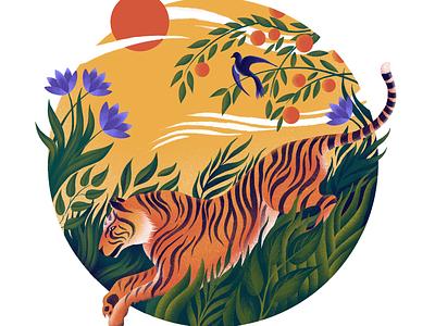 Tiger illustrator exotic tropical painting digital art rousseau nature plants jungle procreate illustration tiger
