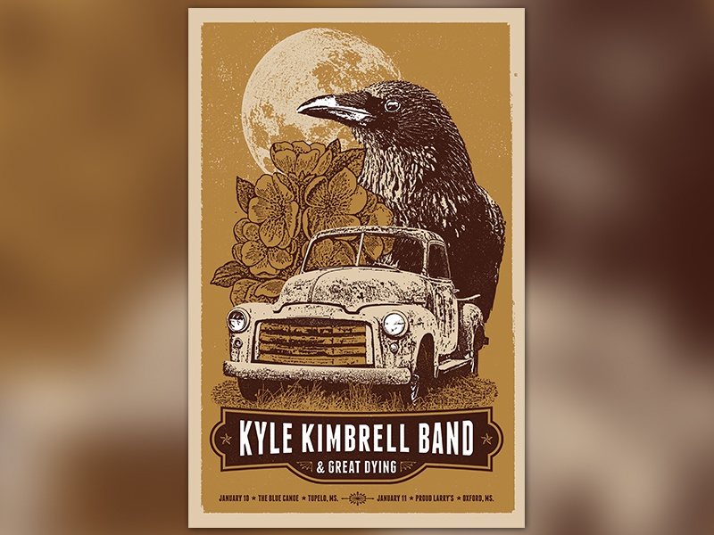 Kyle Kimbrell Poster yellow brown texture screen print bird poster design print