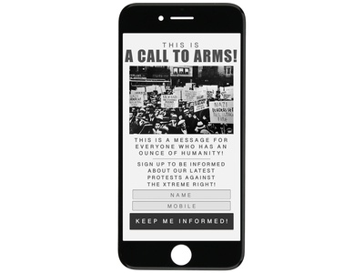 Mock-up for anti nazi protest notifications.