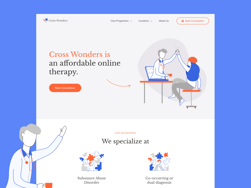 Website for an addiction treatment service diagnosis abuse addiction startup physician landing page illustrations icons steps testimonials hospital recovery therapy treatment addictiontreatment addictionrecovery medical medicine healthcare health