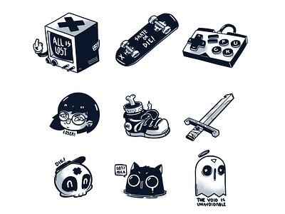 Evil Stickers humor dark sticker sticker design icon vector funny design illustration