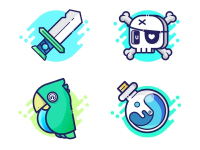 Pirate Icons isometric app game icon character funny interactive interface vector design illustration