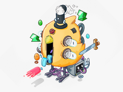 Subatomic Chicken ui game art game colorful creative clean vector character design illustration design