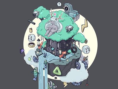 Magic Tree animation isometric icon interactive character design illustration