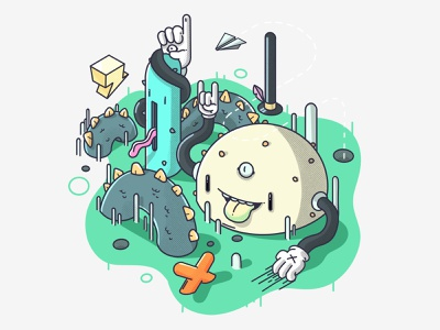 Loopy Friends branding icon isometric game funny vector character design illustration