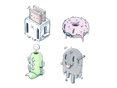 Critters isometric icon game funny character design illustration