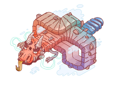Rainbow Dragon vibrant colorful fresh game concept character design japanese cute cool design art illustration